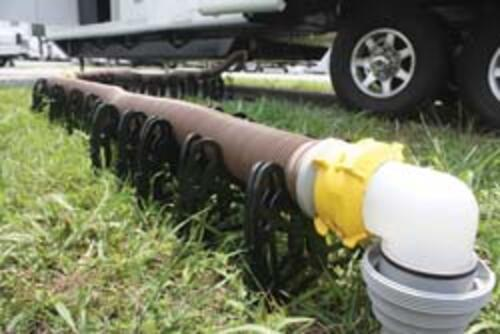Camco Revolution RV Sewer Hose Kit in use