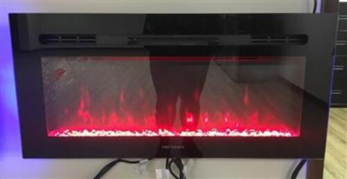 "Greystone 36"" Electric Fireplace with Crystals - Wall Mount - Black - LED Side Lights, W36BCFW Image 1"