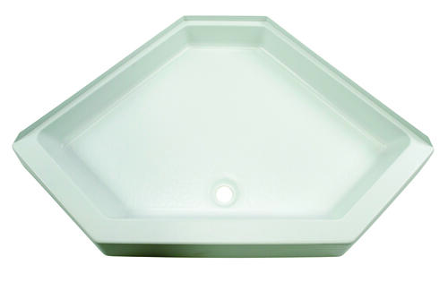 "Neo Angle Shower Pan with Center Drain and 5"" Apron; 34"" x 34"" (White) Image 1"