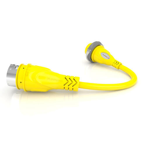 Pigtail Adapter 30A Connector to 50A 125V Plug - Yellow Image 1