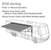 917NU20.000U - 9100 Power Awning w/Weather Shield, Bark, 20 ft, with Black Weathershield - Image 1