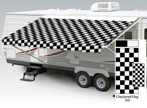 16' Universal Awning Replacement Fabric - Checkered Flag with Weatherguard