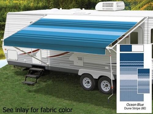 18' Universal Awning Replacement Fabric - Ocean Blue with Weatherguard