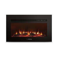 "30"" Built-In Electric Fireplace with Wood Platform - Black Image 1"