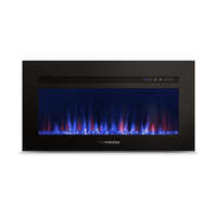 "30"" Built-In Electric Fireplace with Crystal Platform - Black Image 1"