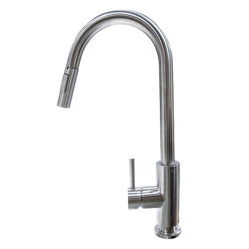 Pull Down Single Hole Bullet Faucet - Stainless Steel Image 1
