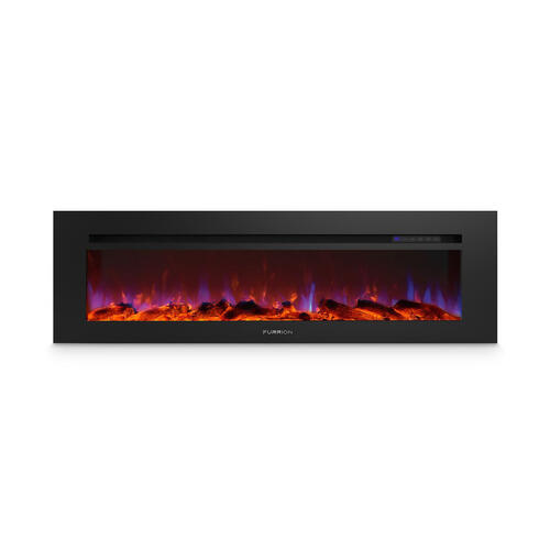 "60"" Built-In Electric Fireplace with Wood Platform - Black Image 1"