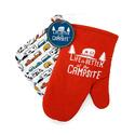 LIBATC, Red Oven Mitt With RV Multi Color Pot Holder