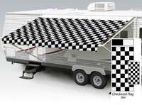 21' Universal Awning Replacement Fabric - Checkered Flag with Weatherguard