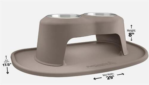 "?Pet Comfort 8"" High Feeding System Double 32 oz. Bowl - Light Brown"