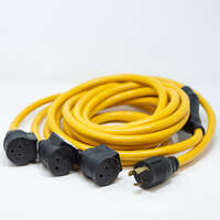 ?Heavy Duty L5-30P - (3)5-20R Portable Generator Power Cord With Storage Strap