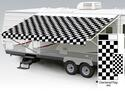 14' Universal Awning Replacement Fabric - Checkered Flag with Weatherguard
