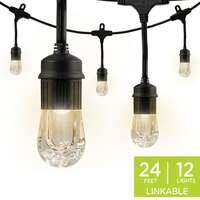Enbrighten Classic LED Cafe Lights, 12 Bulbs, 24 Ft. Black Cord