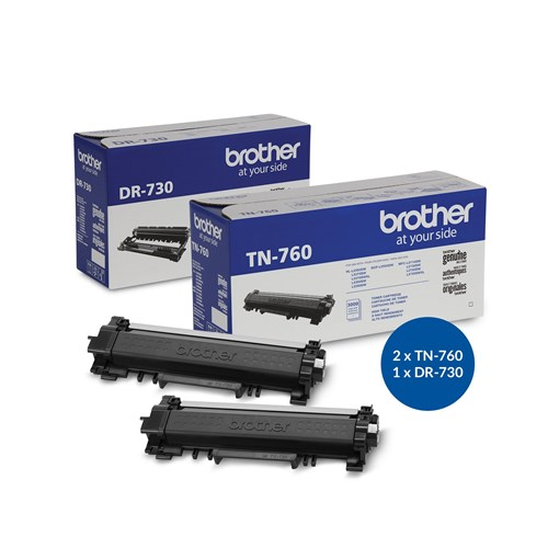 MULTIPACK - Brother DR730 Genuine Drum Unit and two TN760 High Yield Black Laser Toner Cartridges