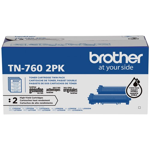 Brother Genuine TN760 2PK High-Yield Black Toner Cartridge Multipack
