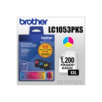Brother LC1053PKS 3-Pack of Innobella  Colour Ink Cartridges (1 each of Cyan, Magenta, Yellow), Super High Yield (XXL Series)