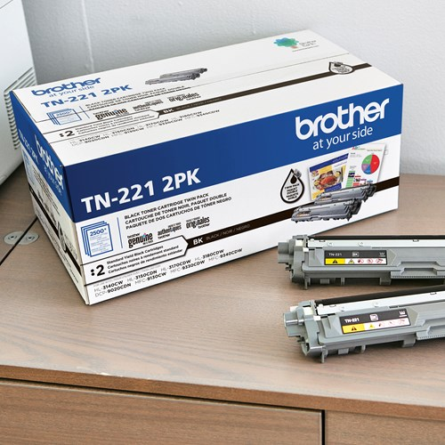 Brother Genuine TN221 2PK Standard-Yield Black Toner Cartridge Multipack