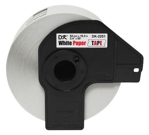 Brother DK-2251 Continuous Paper Tape - 2.4 in x 50 ft (62 mm x 15.2 m) Black/Red on White