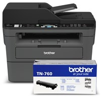 Brother RMFC-L2710DW Refurbished Compact Monochrome Laser Multifunction Bundle with TN760 High-Yield Black Toner Cartridge