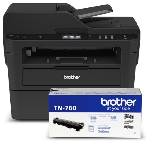 Brother MFC-L2750DW Compact Monochrome Laser Multifunction Bundle with TN760 High-Yield Black Laser Toner Cartridge