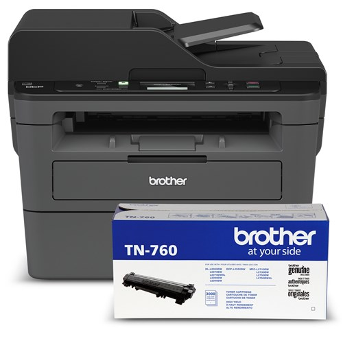 Brother DCP-L2550DW Monochrome Laser Multifunction Bundle with TN760 High-Yield Black Toner Cartridge