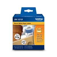 "Brother DK1219 Round Paper Labels (1,200 Labels)   0.47"" (12 mm) in diameter"