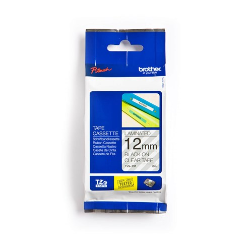 Brother TZe131 Black on Clear 12 mm Tape for P-touch, 8 m