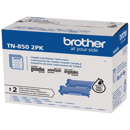 Brother Genuine TN850 2PK High-Yield Black Toner Cartridge Multipack