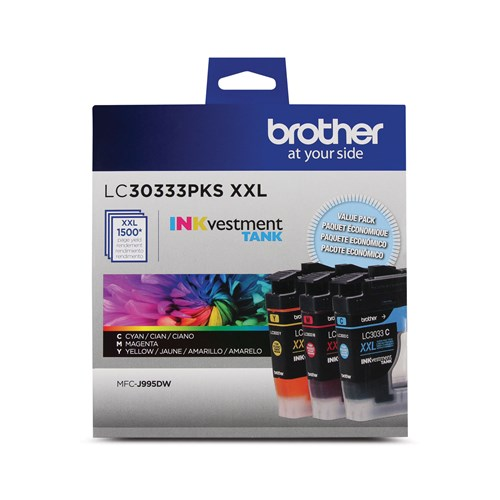 Brother LC30333PKS Genuine Super High-Yield 3-Pack Colour INKvestment Tank Ink Cartridges