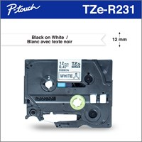 Brother Genuine TZER231 Decorative Black on White Satin Ribbon for P-touch Label Makers, 12 mm wide x 4 m long