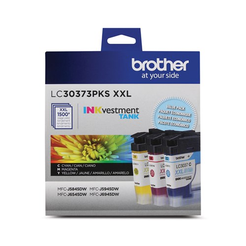 Brother LC30373PKS Genuine 3-Pack Super High-Yield INKvestment Tank Cartridges