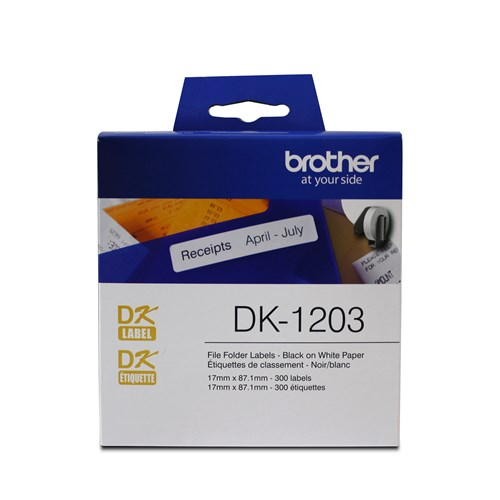 "Brother DK1203 File Folder Paper Label (300 Labels)   0.66"" x 3.4"" (17 mm x 87.1 mm)"