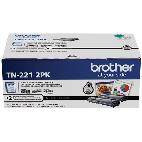 Brother TN221 Ensemble de 2 cartouches de toner noir authentiques à rendement standard