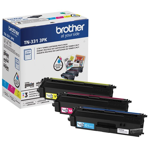Brother TN331 Ensemble de 3 cartouches de toner couleur authentiques à rendement standard