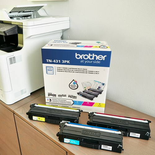 Brother TN431 Ensemble de 3 cartouches de toner couleur authentiques à rendement standard