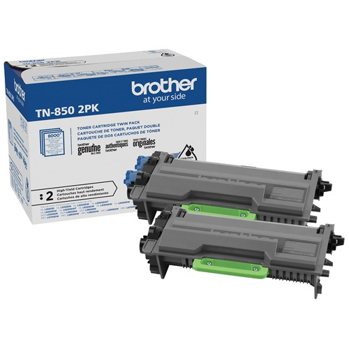 Brother TN850 Ensemble de 2 cartouches de toner noir authentiques à haut rendement