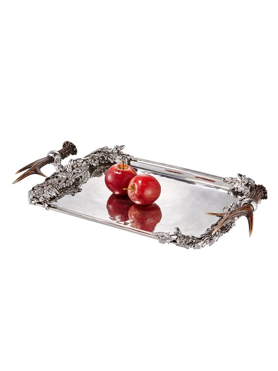 antler pewter serving tray