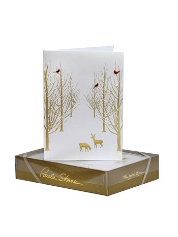 snowy forest holiday greeting card set
