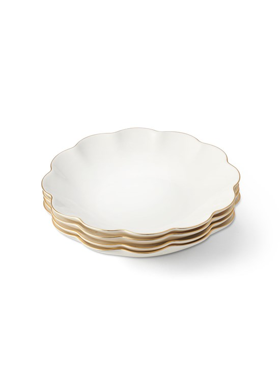scalloped appetizer plate set