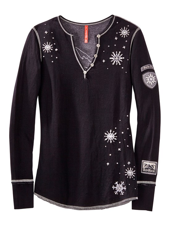 snow pearl beaded henley shirt
