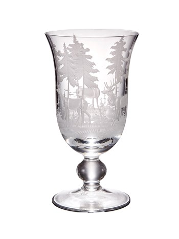engraved stag wine glass