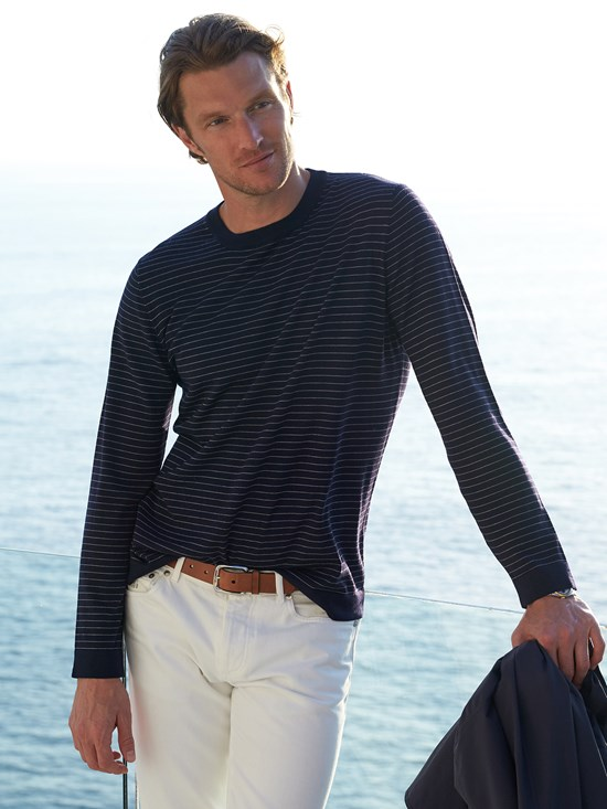 wool cashmere fine stripe sweater