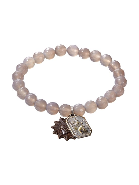 faceted gray agate bracelet