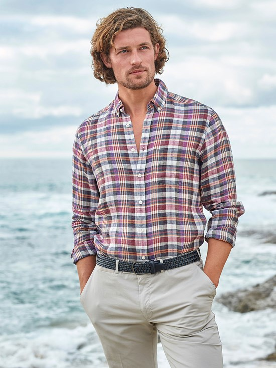 evo linen plaid shirt