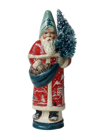 red santa with village coat