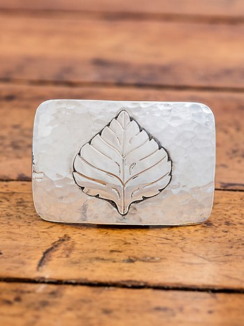 medium hammered aspen leaf buckle
