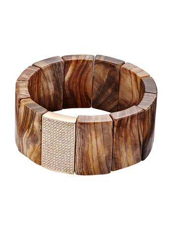 pave petrified wood large spacer bracelet