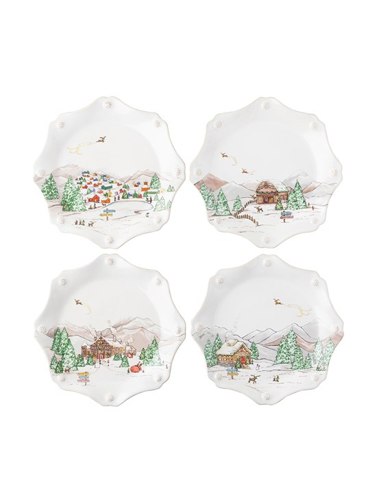 north pole dessert plates, set of 4