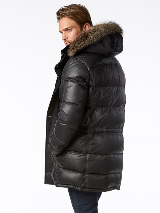 nappa leather down coat