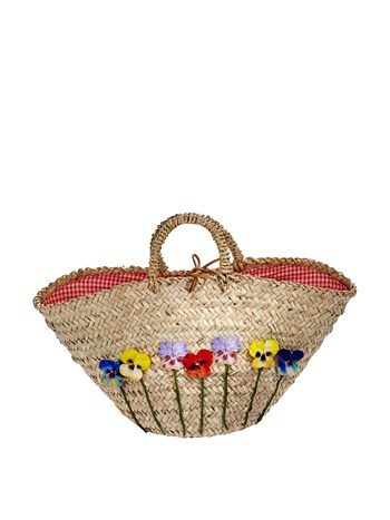 straw pansies bag